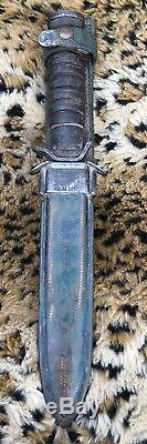 Vintage H. Utica Us M3 Trench Militaire Fighting Couteau Dague Combat Lame