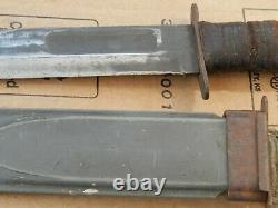 Vintage Kabar Usn Mk2 Couteau De Combat Dague & Nord Scabbard Estate Trouvez