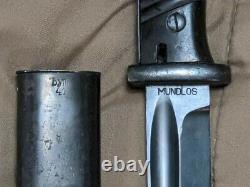 Vintage Original Wwii Allemand K98 Combat Bayonet Dagger Knife Mundlos Bym 41