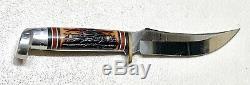 Vintage Ouest Américain H40j Antler Stag Poignée Fighting Hunting Dague Couteau Gaine