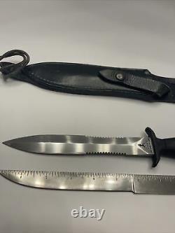 Vtg Gerber Mark II Survie 1980 Commando Knife Dagger Serrated & Gaine En Cuir