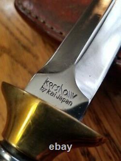 Vtg Kershaw Kai Japon Agent Spécial Fixed Blade Boot Couteau Dague Avec Gaine