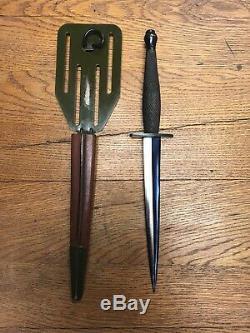 Ww2 Oss Stiletto Dagger Fighting Knife & Original Pancake Gaine Rare