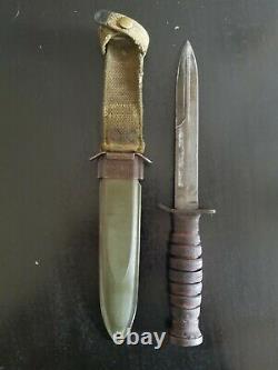Wwii Us Imperial M3 Couteau De Combat De Tranchée Dagger Avec Gaine De Scabrard Us M8